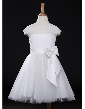 Simple A-Line Knee Length Tulle Satin Flower Girl Dresses with Slight Cap Sleeves
