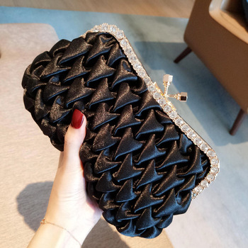Fashionable Silk Pleated Black Evening Party Handbags/ Purses/ Clutches