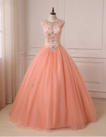 Junoesque Gorgeous Crystal Beading Ball Gown Full Length Tulle Prom/ Quinceanera Dresses