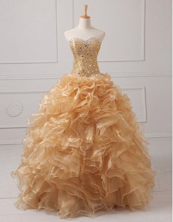 Gorgeous Crystal Beading Ball Gown Full Length Organza Prom/ Quinceanera Dresses with Ruffled Tiered Skirt