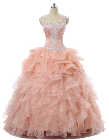 Delicate Beading Ball Gown Sweetheart Floor Length Prom/ Quinceanera Dresses with Dramatic Illusion Back