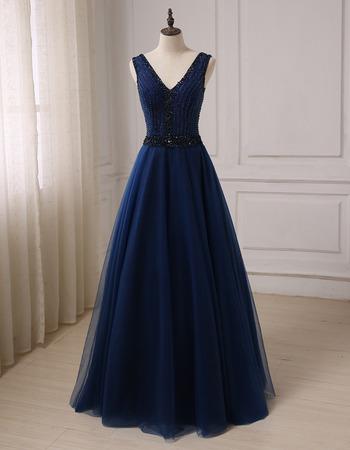 Classy Shimmering Beading A-Line V-Neck Brush Train Tulle Prom/ Party/ Formal Dresses