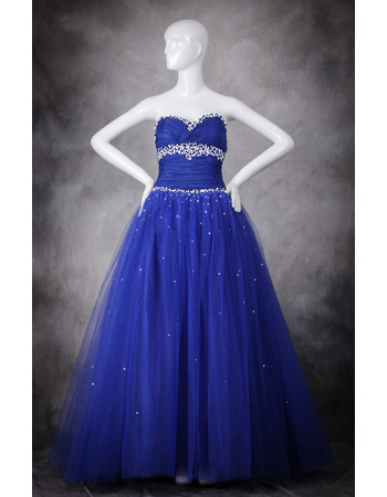 Tailored Beading Sweetheart Floor Length Tulle Prom/ Party/ Quinceanera Dresses with Pleated Bust