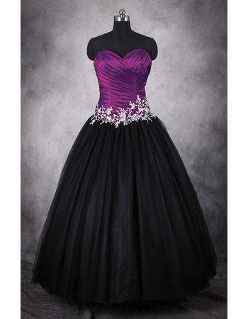 Discount Beaded Appliques Ball Gown Sweetheart Full Length Prom/ Quinceanera Dress with Ruched Bodice