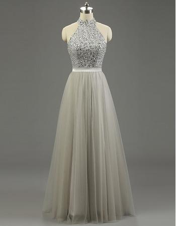 Gorgeous Shimmering Beaded Halter Full Length Tulle Prom/ Party/ Formal Dresses