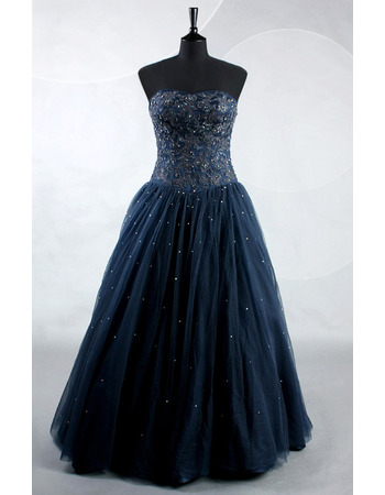 Gorgeous Shimmering Beaded Appliques Sweetheart Full Length Beading Prom Party/ Formal Dresses