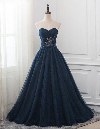 Gorgeous Shimmering Beaded Sweetheart Full Length Ruched Lace Prom Party/ Formal Dresses