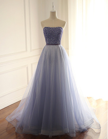 Gorgeous Shimmering Strapless Beading Tulle Prom Party/ Formal Dresses