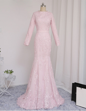 Elegant Appliques Mermaid Prom/ Formal Dresses with Long Sleeves for Women