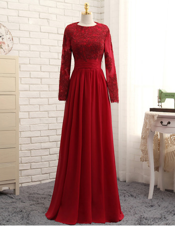 Junoesque Appliques Long Chiffon Satin Formal Prom Dresses with Long Sleeves for Women