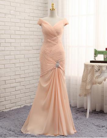 Custom Mermaid V-Neck Floor Length Chiffon Pleated Prom Dresses for Women
