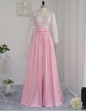 Discount V-Neck Floor Length Prom/ Formal Dresses with Long Sleeves for Women