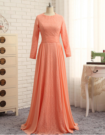 Junoesque Floor Length Chiffon Lace Prom/ Formal Dresses with Long Sleeves for Women