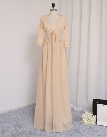 Gorgeous Crystal Bodice V-Neck Long Lace Chiffon Prom Dresses with 3/4 Long Sleeves for Women