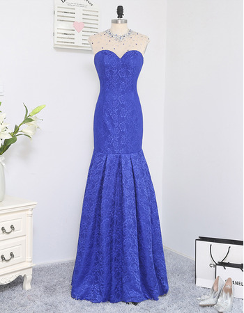 Gorgeous Crystal Beading Neckline Mermaid Sweetheart Floor Length Lace Prom/ Formal Dresses