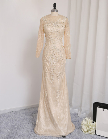 Luxury Beaded Appliques Sheath Floor Length Lace Prom/ Formal Dresses with Long Sleeves for Women