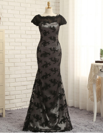Elegant Mermaid Floor Length Lace Black Prom/ Formal Dresses for Women with Cap Sleeves