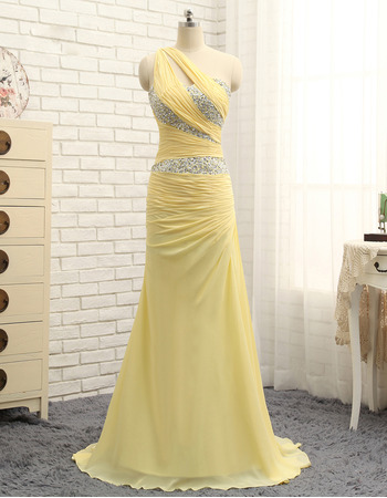 Sexy Gorgeous Crystal Beading One Shoulder Long Length Chiffon Prom/ Formal Dresses for Women