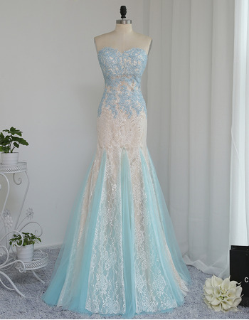 Delicate Appliques Mermaid Sweetheart Long Lace Color Block Prom/ Formal Dresses for Women with Godet Hem