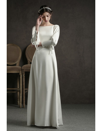 Junoesque Simple Open Back Satin Full Length Reception Wedding Dress with Long Sleeves