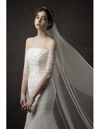 Elegantly Beaded Appliques Off-the-shoulder Tulle Wedding Dresses with Mermaid Skirt
