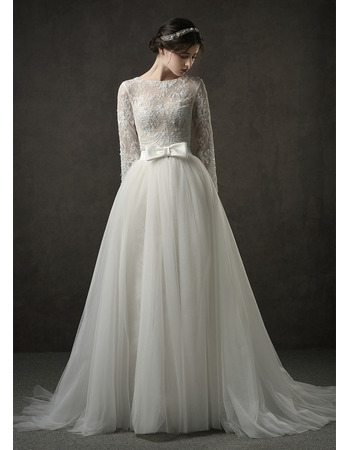 Romantic Beaded Illusion Neckline Lace Wedding Dress with Detachable Tulle Skirt