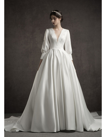 Traditional A-Line Appliques V-Neck Pleated Satin Wedding Dresses with 3/4 Length Sleeves