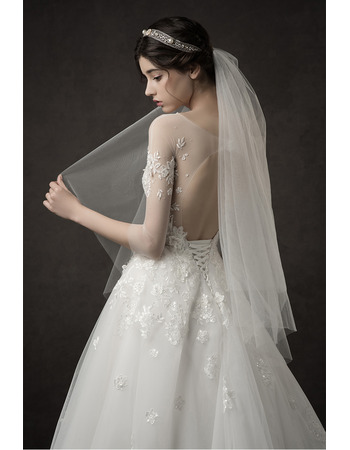 Romantic Glamorous Illusion Sweetheart Neckline A-Line Beaded Appliques Tulle Wedding Dresses with 3/4 Long Sleeves