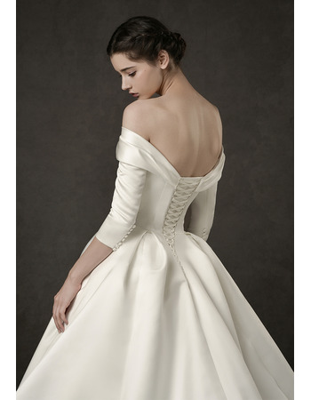 Junoesque Simple Ruched Off-the-shoulder Satin Wedding Dresses with 3/4 Long Sleeves