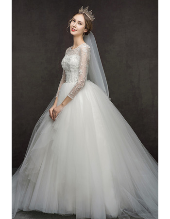 Romantic Luxury Beaded Bodice Lace Tulle Wedding Dresses with Long Sleeves