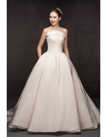 Concise A-Line Strapless Court Train Satin Wedding Dresses with Pockets