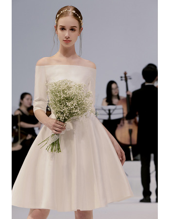 Affordable Simple Off-the-shoulder Knee Length Satin Wedding Dress with Half Sleeves