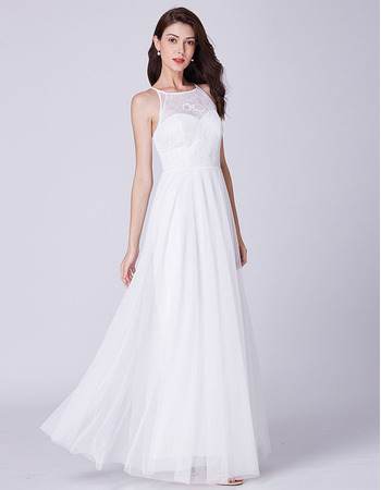 Feminine Illusion Sweetheart Neckline White Chiffon Evening Party Dresses