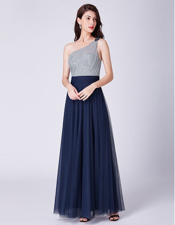 Discount One Shoulder Floor Length Pleated Tulle Evening Dresses
