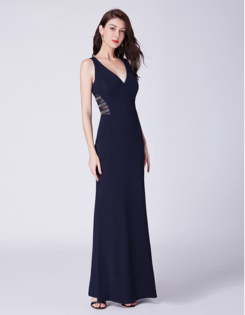 Sexy V-Neck Full Length Satin Evening Party Dress with Keyhole Cutout Waist