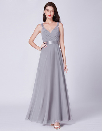 Sexy Deep V-Neck Floor Length Silver Chiffon Evening Party Dresses