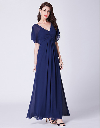 Discount Flutter Sleeves Full Length Chiffon Evening Dresses with Daring Open Back