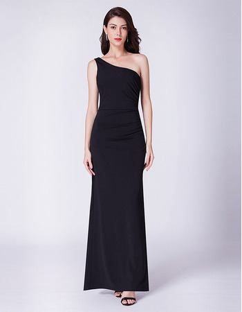 Simple One Shoulder Asymmetrical Ruched Waistline Evening Party Dresses