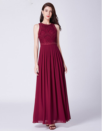 Discount Lace Bodice Pleated Chiffon Skirt Evening Party Dresses
