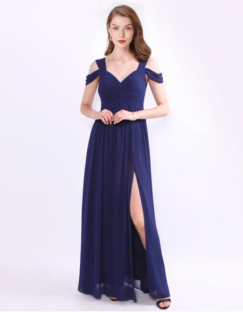 Sexy Full Length Side Slit Chiffon Evening Party Dresses with Split Sleeves