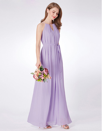 Discount Full Length Pleated Chiffon Evening Party Dress with Keyhole