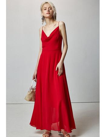 Simple Slender Straps Ankle Length Chiffon Evening Dresses