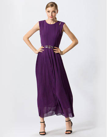 Discount Tea Length Pleated Chiffon Evening Party Dresses with Keyhole