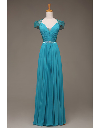 Dramatic Illusion Lace Back Pleated Chiffon Evening Dresses with Cap Sleeves