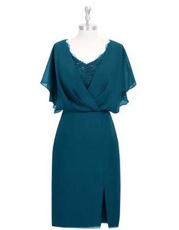 Stylish Trim Capelet Short Chiffon Mother Dress with Flutter Sleeves