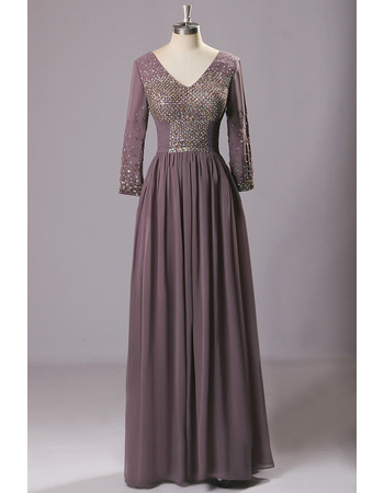 Luxury Beaded Bodice Pleated Chiffon Mother Bride Dress with Long Sleeves