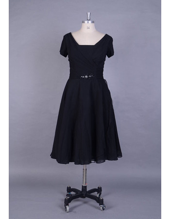 Vintage Knee Length Navy Blue Chiffon Mother Bride Dress with Short Sleeves