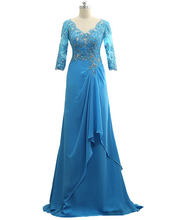 Luxury Beaded Appliques Chiffon Mother Groom Dresses with 3/4 Long Sleeves
