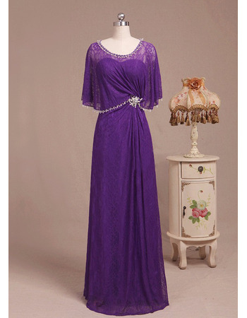 Stunning Floor Length Beaded Lace Mother Bride Dress with Wrap