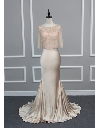 Elegant Godet Hem Elastic Silk Like Satin Mother Dress With Beaded Lace Wrap